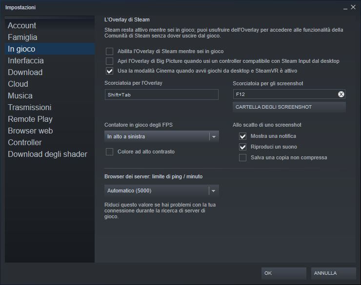 visualizza fps su steam
